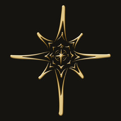 Golden Christmas star on a black background, volumetric pattern