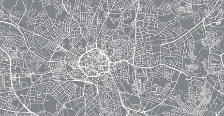 Urban vector city map of Coventry, England