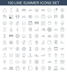 summer icons. Set of 100 line summer icons included slippers, fast food cart, soda, clock, beetle, peach, ice cream on white background. Editable summer icons for web, mobile and infographics.