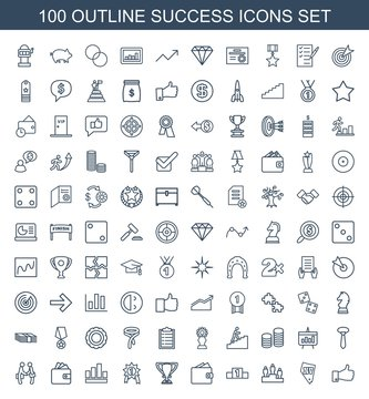 success icons. Set of 100 outline success icons included thumb up, Vegas, ranking, wallet, trophy, number medal on white background. Editable success icons for web, mobile and infographics.