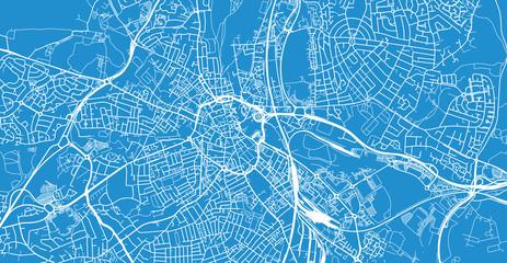 Urban vector city map of Derby, England