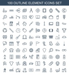 element icons. Set of 100 outline element icons included vacuum cleaner, underwater mask, christmas tree on white background. Editable element icons for web, mobile and infographics.