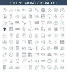 business icons. Set of 100 line business icons included disc flame, structure, lion, touchscreen, trash bin on white background. Editable business icons for web, mobile and infographics.