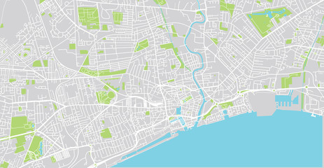 Urban vector city map of Hull, England