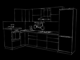 L-shaped kitchen sketch on a black chalkboard.