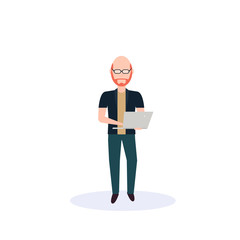 Wall Mural - redhead man using laptop standing pose isolated bald head faceless silhouette male cartoon character full length flat vector illustration