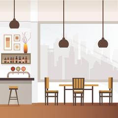 Empty Bar or Pub Interior Flat Vector Illustration