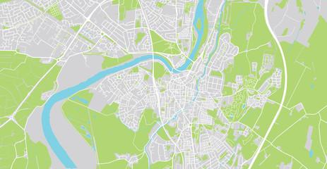 Urban vector city map of Lancaster, England