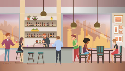City Bar Full of Visitors Flat Vector Illustration