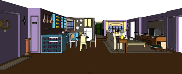 Monica's apartment from the TV-show Friends Wall mural