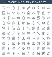 clean icons. Set of 100 outline clean icons included soap, trash bin, no bleaching, towels, bottle, laundry on white background. Editable clean icons for web, mobile and infographics.
