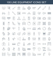 equipment icons. Set of 100 line equipment icons included pin, salon hair dryer, stapler, truck with hook on white background. Editable equipment icons for web, mobile and infographics.