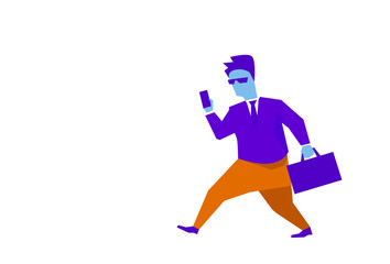 businessman using smartphone suitcase going to business meeting punctuality concept hard working process isolated horizontal