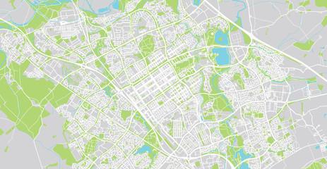 Urban vector city map of Milton Keynes, England
