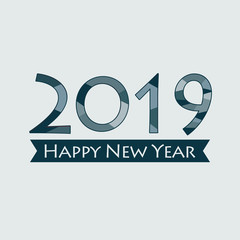 Happy New Year 2019. Creative happy new year 2019 design. EPS 10 vector illustration for design. All in a single layer. Vector illustration. Happy New Year 2019 on blue background.