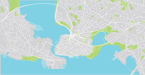 Urban vector city map of Poole, England