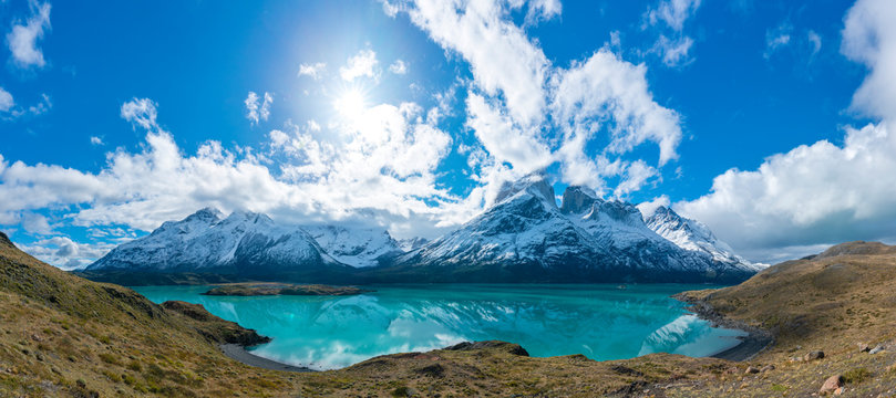 Cuernos del Paine mountains in Torres del Paine National Park in Chile