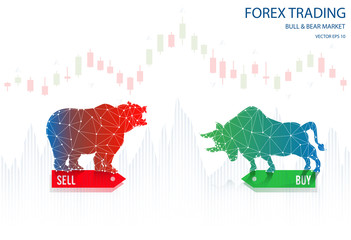vector of forex trading indicators graph bull and bear market,trade online concept