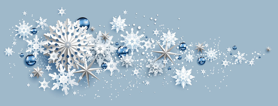 Facebook Web Banner Social Media template. Shine winter decoration with snowflakes, stars and balls.