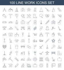work icons. Set of 100 line work icons included resume, teacher, jumpsuit, clock in gear, case, crane, man with luggage on white background. Editable work icons for web, mobile and infographics.