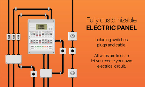 Fully customisable electrical panel box with switch, plug and wire