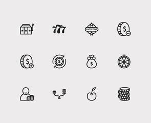 Casino icons set. Gamble and casino icons with lose money, money prize and money abundance. Set of addiction for web app logo UI design.