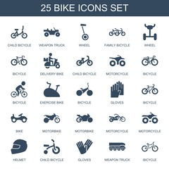 bike icons. Set of 25 filled bike icons included child bicycle, weapon truck, wheel, family bicycle, bicycle on white background. Editable bike icons for web, mobile and infographics.