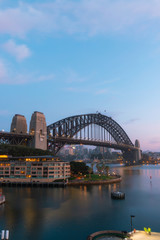 Aluminium Prints Sydney Sydney Harbour Bridge morning view with clear sky.
