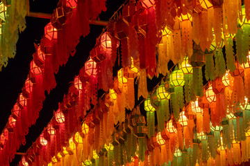 Colorful lanterns decorated at temple in the festival.