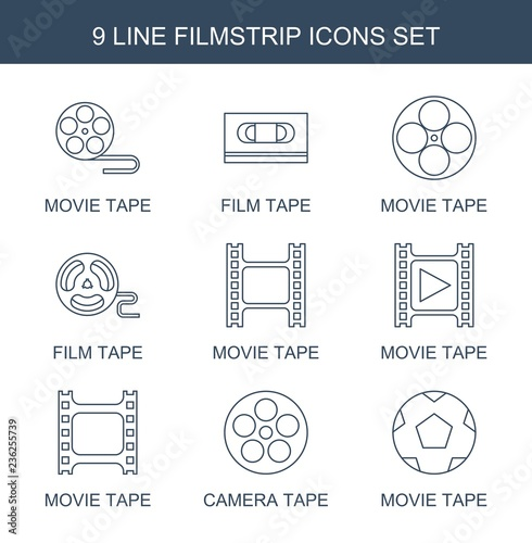 filmstrip icons  Set of 9 line filmstrip icons included