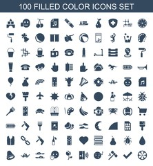 color icons. Set of 100 filled color icons included lemon, tick, hammer, emoji listening music, intercom, rose on white background. Editable color icons for web, mobile and infographics.