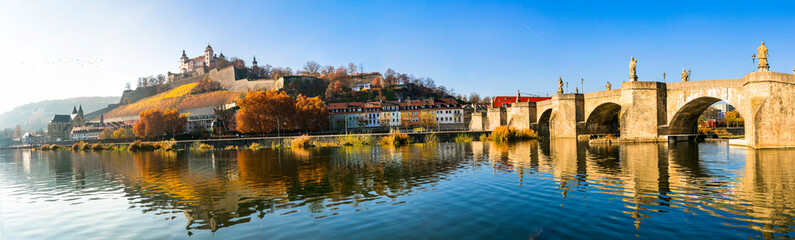 "Scenic Wurzburg town - famous ""Romantic road"" tourist route in Bavaria, Germany"