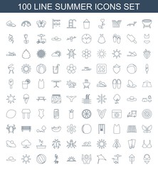 summer icons. Set of 100 line summer icons included bikini, nesting house, fast food cart, kite, flower, sun rise on white background. Editable summer icons for web, mobile and infographics.