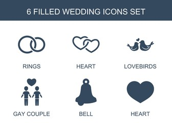 wedding icons. Set of 6 filled wedding icons included rings, heart, lovebirds, gay couple, bell on white background. Editable wedding icons for web, mobile and infographics.