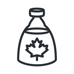 Maple Syrup Bottle Flat Line Stroke Icon Pictogram