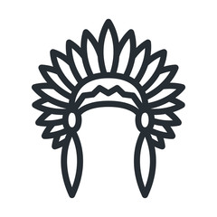 Native American Headdress Apache Indian Hat Flat Line Stroke Icon Pictogram