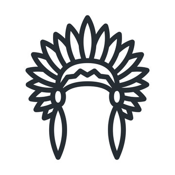 Native American Headdress Apache Indian Hat Flat Line Stroke Icon Pictogram