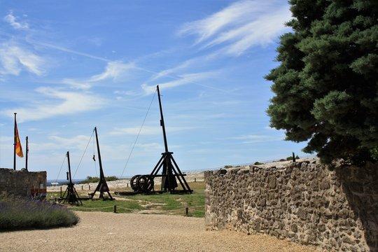 Medieval trebuchet. Chateau des Baux de Provence, France