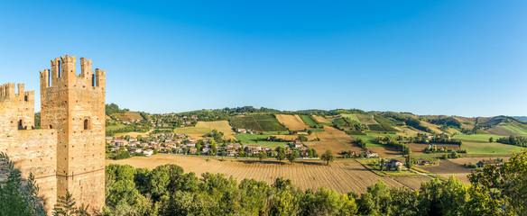 Panoramic view at the nature near Castell'Arquato and Castle of Rocca Viscontea in Italy