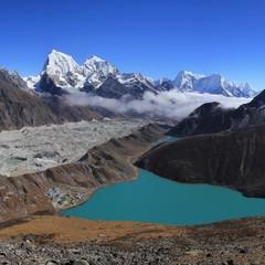 Turquoise Lake Gokyo, Ngozumpa Glacier and Mount Cholatse. Beautiful valley near Mount Everest, Nepal.