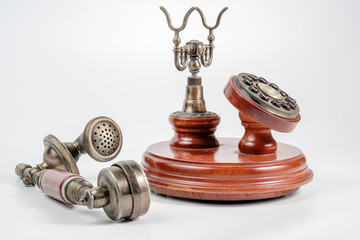 Old vintage telephone isolated