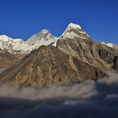 Mount Everest seen from a place in the Gokyo Valley, Nepal. Sea of fog..