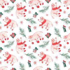 The pattern with watercolors New Year's  piglets, christmas decorations, gifts and sweets.