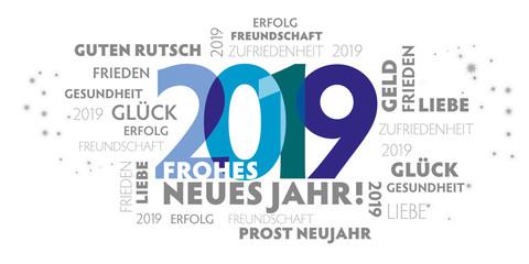 Neujahrsgruß 2019 mit verschiedenen Grußformeln und Wünschen - blaue Zahlen