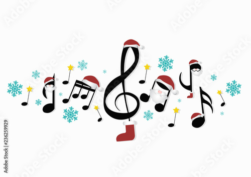 Christmas Music Notes.Musical Notes With Christmas Decorations Stock Image And
