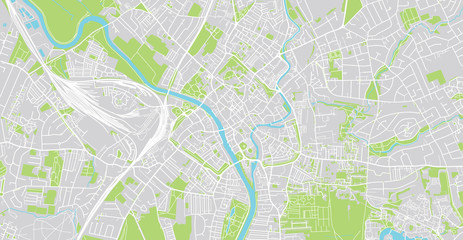 Urban vector city map of York, England