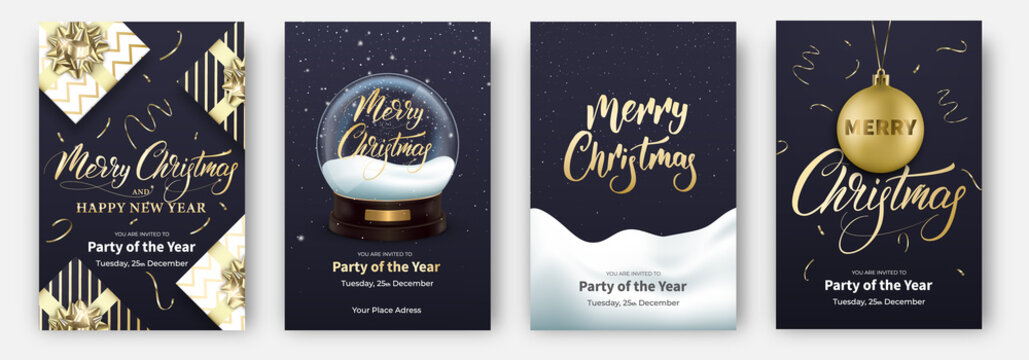 Christmas cards. Design layouts for Merry Xmas. Posters with snow globe, gifts, other Christmas decorations and lettering.