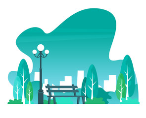 City park with town buildings on a background. Vector illustration.