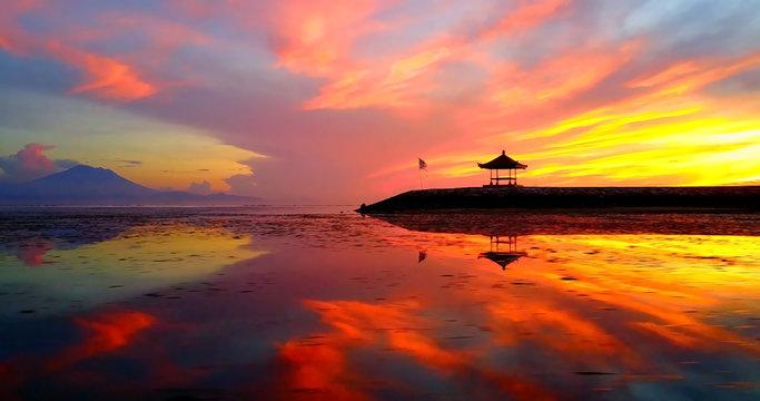 Asian Gazebo Silhouette During Tropical Sunrise On Ocean Point - Sanur Beach, Indonesia