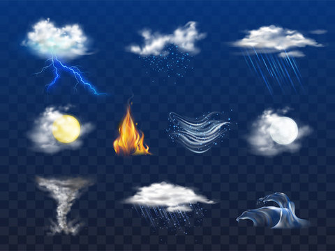 Day, night weather forecast icon, natural disaster 3d realistic vector set isolated on transparent background. Bad weather with rain, snow, cold wind. Climate changes concept design element collection